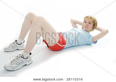 fitness young beauty girl on white background