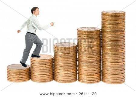 businessman go up career stairs on white background