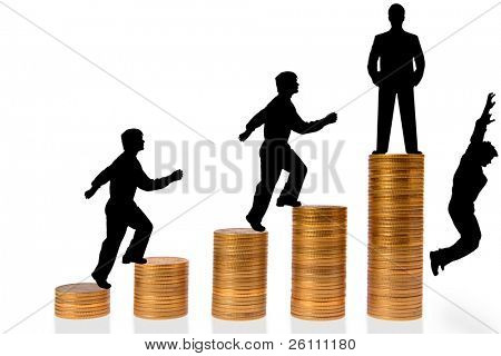 businessman go up stairs from coins on white background