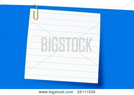 paper-clip and short letter on blue