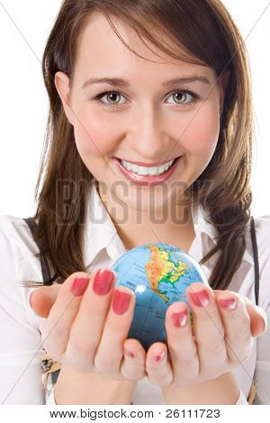 yung beauty girl hold globe in palm over white