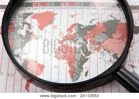 black magnifer with world map