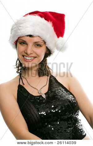 beauty girl in santa red cap on white