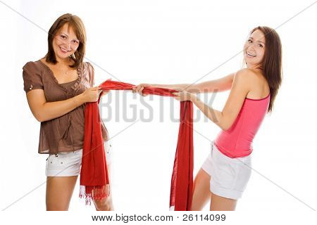 beauty couple woman pull red scarf over white