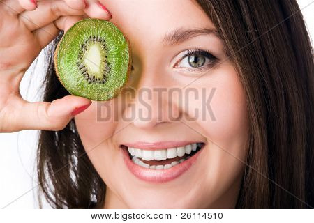 beauty woman with kiwi on white