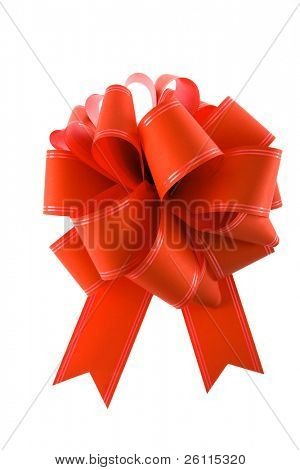 red Gift Bow isolated over white background