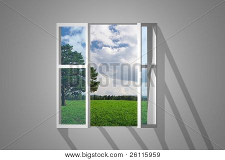 opening window view on landscape
