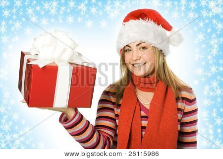 christmas girl in red hat with box gift and snowflake