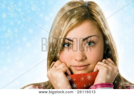 close up woman in scarf with snowflake