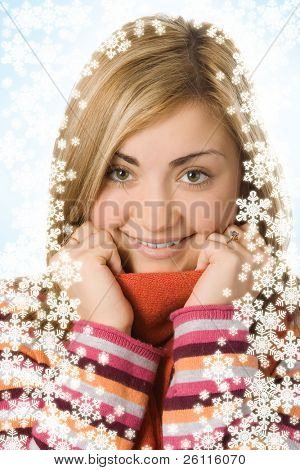 beauty girl close up portrait in scarf over white background