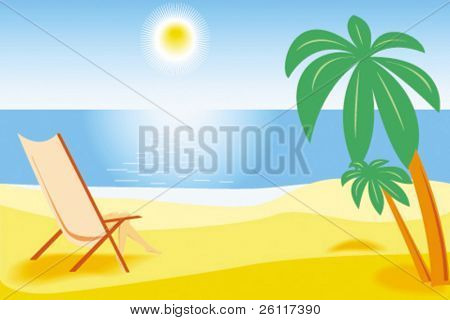 tropical beach sea, sand, palm and woman in chaise longue