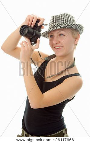 woman with photo camera on white