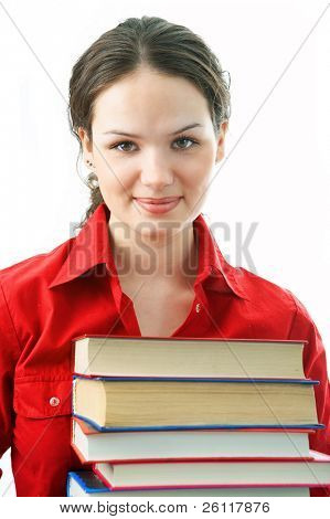 woman with pile books on white background