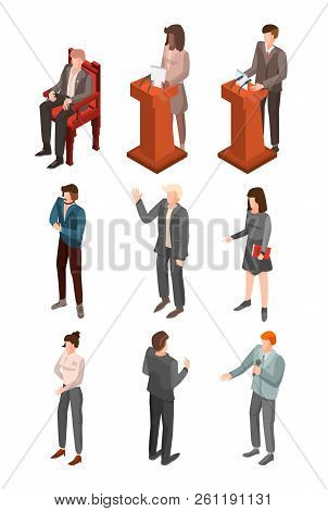 Political Conference Icon Set Isometric
