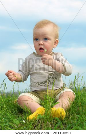 little baby  on green grass with flower