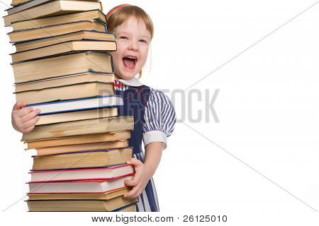 little baby with books isolated on white background