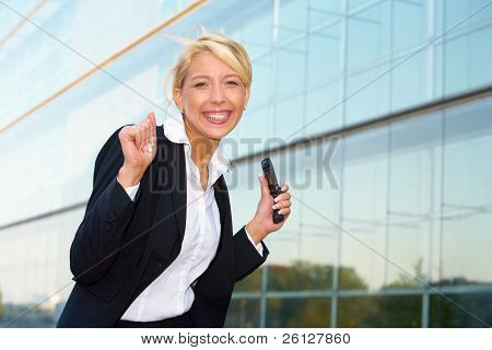 Young Businesswoman Cheering