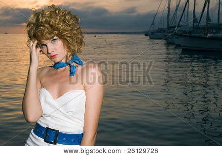 beauty woman at sea with ship