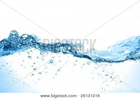 Clean water and water bubbles in blue