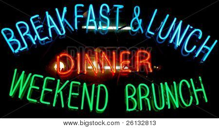 Leuchtreklame in ein Restaurant Fenster Werbung Frühstück, Mittagessen, Abendessen und Wochenende brunch
