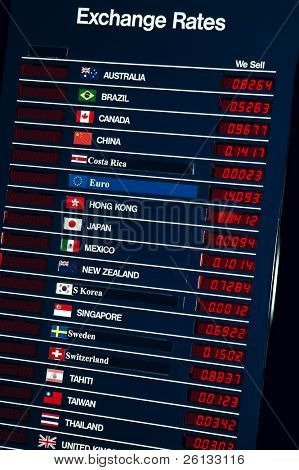 Sign with details about foreign currency exchange rates
