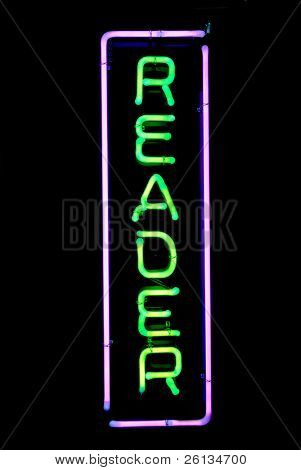 Green and purple reader neon sign