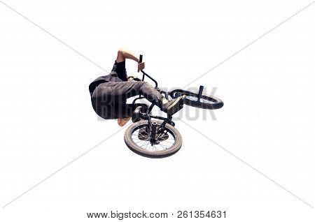Bmx Rider Jumping Isolated Over