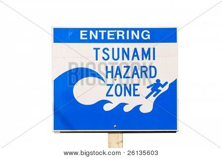 Tsunami Evacuation Route road sign with clipping path -- Harbor Wave