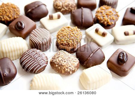 assortment chocolate praline sweets