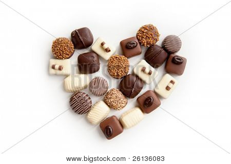 heart shaped assortment of delicious chocolate praline sweets