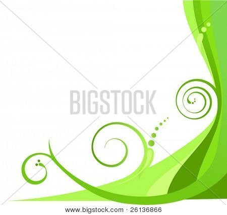 Abstract floral green swirls