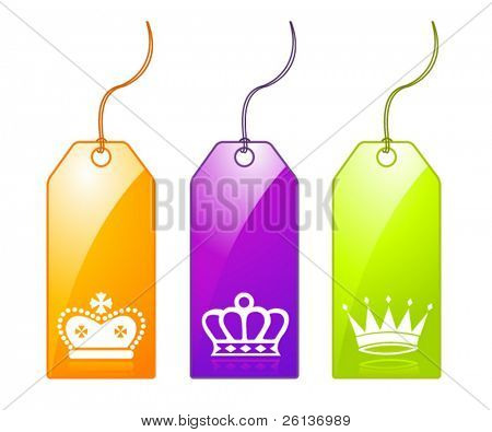 3 Tags with Crowns