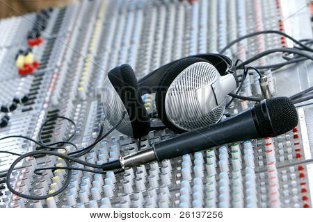 headphones on sound mixer