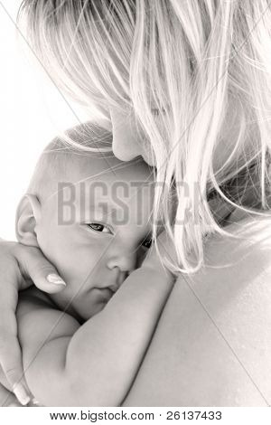 mother and son, isolated over white