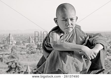 bw portrait of a young monk