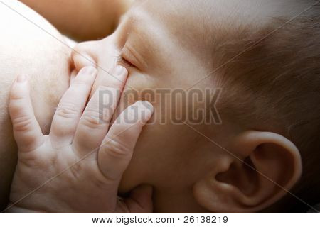 close up of newborn baby near breast