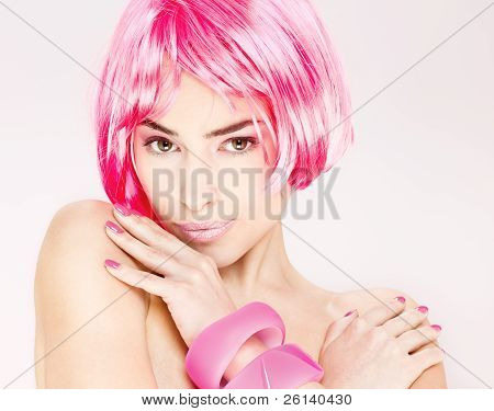 Pretty Pink Hair Woman