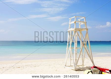 lifeguards place at tropical beach