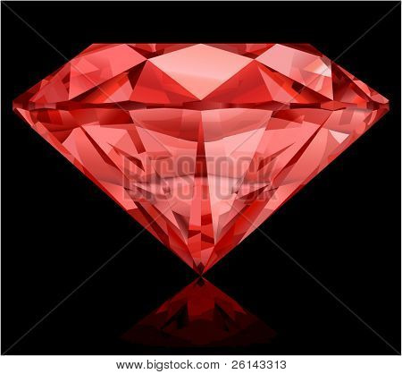 Realistic ruby on black background