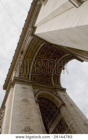 The Arc de Triomphe in Paris, seen from below, it's height emphasised by the fish eye lens used