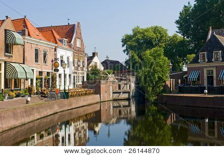 The old 16th century (1571) village of Spaarndam, the Netherlands, with the old inner harbor, it's sluices and locks, the fisherman's' houses