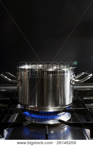 A stainless steel pan on a stove