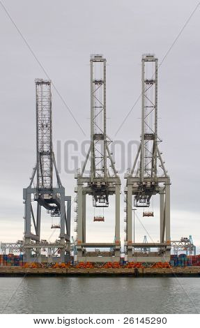 Three idle cranes at the Rotterdam Container Terminal, waiting for the next ship to arrive