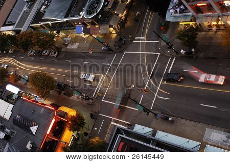 One of Vancouvers intersection at dusk, seen from above