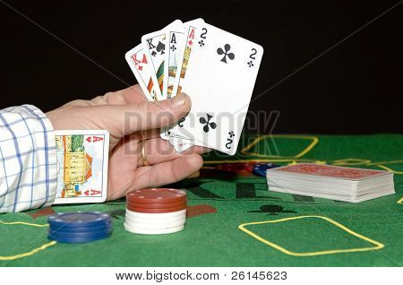 Having a card up your sleeve: Cheating at poker, or committing adultery; taking chances, risking everything