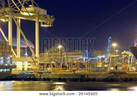 Activity at night in Rotterdam Harbor