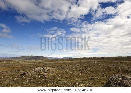 The shield volcano near Hveravellir along the Kjolur Highland route in Iceland, with the Vatnajokull Ice cap on the horizon