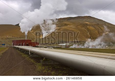 The geothermal powerplant in the Volcanic Krafla system, generating electricity from the natural earth energy