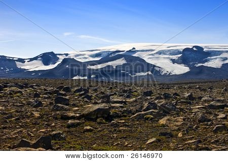 The Vatnajokull glacier and volcano with the barren, rock covered Tundra in front