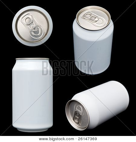 Four projections (top, front, orthogonal and perspective) of a blank beverage can. Clipping paths of all views are included in the largest file size.